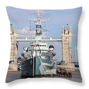 Tower Bridge And Battleship 5863 Throw Pillow