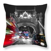 Tower Bridge And Traffic Color Mix Throw Pillow