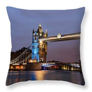 Tower Bridge Illuminated For Je Suis Charlie Throw Pillow by Ivelin Donchev
