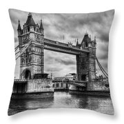 Tower Bridge In London Uk Black And White Throw Pillow