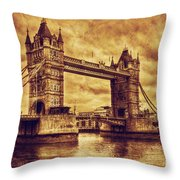 Tower Bridge In London Uk Vintage Style Throw Pillow