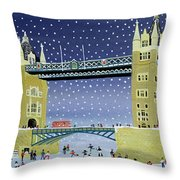 Tower Bridge Skating On Thin Ice Throw Pillow