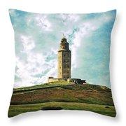 Tower Of Hercules La Coruna Throw Pillow