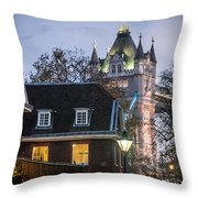 Tower Of London Christmas Tree Throw Pillow