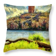 Tower On The Bluff Throw Pillow