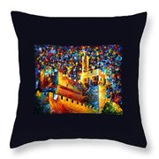Tower - Palette Knife Oil Painting On Canvas By Leonid Afremov Throw Pillow