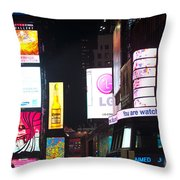 Towering Ads Throw Pillow