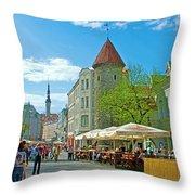Towers As Gateways To Old Town Tallinn-estonia Throw Pillow