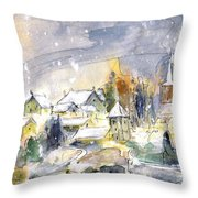 Town By The Rhine Falls In Switzerland Throw Pillow