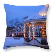 Town Common Holiday Scene Brookfield Massachusetts Throw Pillow