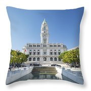 Town Hall In Porto Portugal Throw Pillow