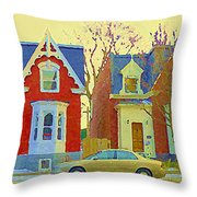Town Houses In Winter Suburban Side Street South West Montreal City Scene Pointe St Charles Cspandau Throw Pillow