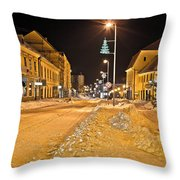 Town In Deep Snow On Christmas  Throw Pillow