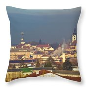Town Of Bjelovar Winter Skyline Throw Pillow