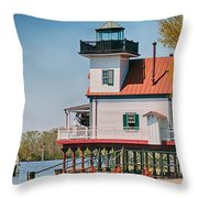 Town Of Edenton Roanoke River Lighthouse In Nc Throw Pillow