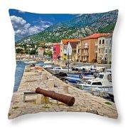 Town Of Karlobag Under Velebit Mountain Throw Pillow
