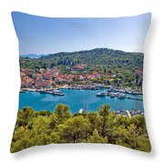 Town Of Kukljica Aerial View Throw Pillow
