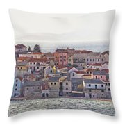 Town Of Primosten Panoramic View Throw Pillow