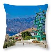 Town Of Razanac With Velebit Background Throw Pillow