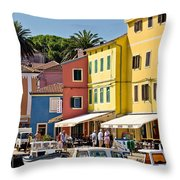 Town Of Veli Losinj Colorful Waterfront Throw Pillow