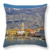 Town Of Vinjerac In Front Of Paklenica National Park Throw Pillow