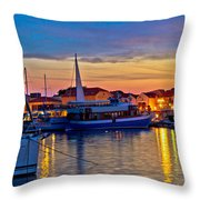 Town Of Vodice Harbor And Monument Throw Pillow
