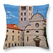 Town Of Zadar Historic Church Throw Pillow