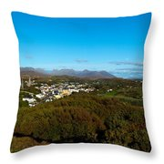 Town On A Hill With 12 Pin Mountain Throw Pillow