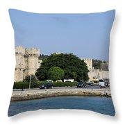 Town Wall - Rhodos City Throw Pillow