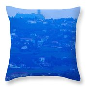 Town With Chateau De Polignac Throw Pillow