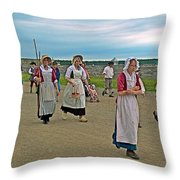 Townsfolk On Main Street In Louisbourg Living History Museum-174 Throw Pillow