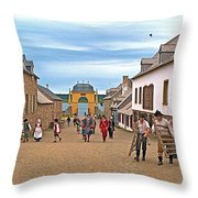 Townsfolk On Street To The Sea In Louisbourg Living History Museum-174 Throw Pillow