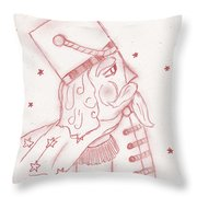 Toy Soldier Nutcracker In Red Throw Pillow
