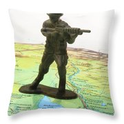 Toy Solider On Iraq Map Throw Pillow by Amy Cicconi