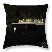 Toyota Fj Christmas Lights Throw Pillow