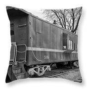 Tpw Rr Caboose Black And White Throw Pillow