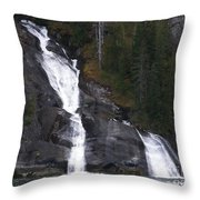 Tracey Arm Fjord Waterfall Throw Pillow