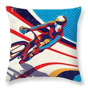Track Cyclist Throw Pillow