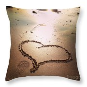 Tracks Of Love In The Sand Throw Pillow