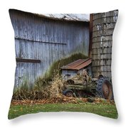Tractor And Barn On Cloudy Day Throw Pillow