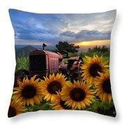Tractor Heaven Throw Pillow by Debra and Dave Vanderlaan