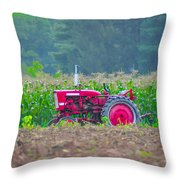 Tractor In A Corn Field Throw Pillow