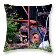 Tractor In Shed Throw Pillow