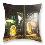 Tractor In The Morning Throw Pillow