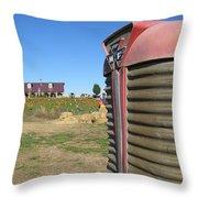 Tractor On The Pumpkin Farm Throw Pillow