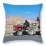 Tractor Towing A Wagon Along The Road To Shigatse-tibet Throw Pillow
