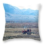 Tractor Used In Farming Along The Road To Shigatse-tibet Throw Pillow