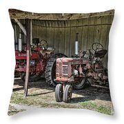 Tractors In The Shed Throw Pillow