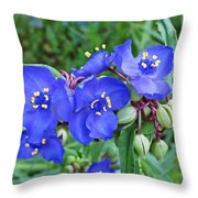 Tradescantia Blooming Throw Pillow