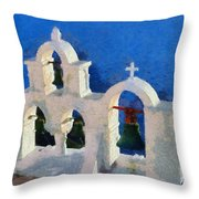 Traditional Belfry In Oia Town Throw Pillow